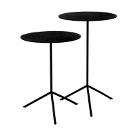 JIVE - set/2 side tables - aluminium / stainless steel - DIA 36 x H 47/57 cm - black