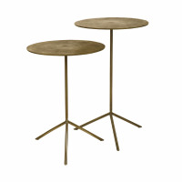 JIVE - set/2 bout de canapés - aluminium / stainless steel - DIA 36 x H 47/57 cm - brass
