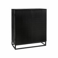 SHADOW - cupboard - pine / bamboo - L 80 x W 40 x H 96 cm - black