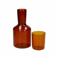LASI - pitcher+glass - glass - DIA 7/10 x H 8/20 cm - dark amber