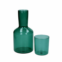 LASI - pitcher+glass - glass - DIA 7/10 x H 8/20 cm - teal