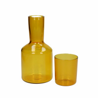 LASI - pitcher+glass - glass - DIA 7/10 x H 8/20 cm - yellow