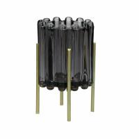 BROOKLYN CANET - photophore - verre / métal - DIA 10 x H 16 cm - gris