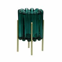 BROOKLYN CANET - photophore - verre / métal - DIA 10 x H 16 cm - teal