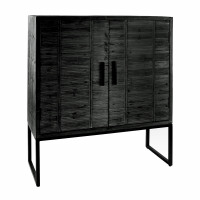 DURBAN  - cupboard - pine - L 110 x W 40 x H 140 cm - black