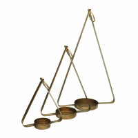 HOLD ME - set/3 candle holders - metal - L 17/22/28 x W 7/9/11 x H 20/31/44 cm - gold