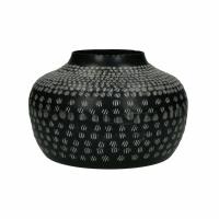 ZEBRA - vase - aluminium - DIA 26 x H 17 cm - noir