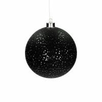 NORI - bol m/kerstverlichting- batterij - glas - DIA 15 cm - zwart
