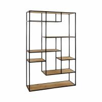 ESZENTIAL - étagère - bois - métal - L 100 x W 30 x H 165 cm - naturel/noir