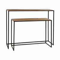 ESZENTIAL - set/2 consoles - wood - metal - L 80/100 x W 30/30 x H 60/80 cm - natural/black