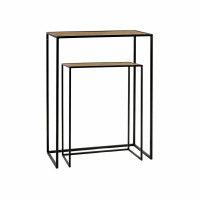 ESZENTIAL - set/2 consoles - wood - metal - L 50/60 x W 30/30 x H 60/80 cm - natural/black