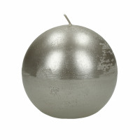 CANDLE - candle ball - paraffin wax - DIA 9 cm - silver