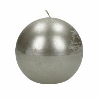 CANDLE - kaars bol - paraffine wax - DIA 9 cm - zilver
