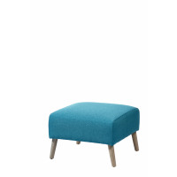 VEDA - stool - wood/fabric - duck blue - 52x52x36 cm