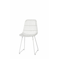 SUN - SUN - chair - rattan/metal - white - 56,5x46x83 cm - metal - L 56,5 x W 46 x H 83 cm - white