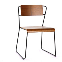 SORTO - chair - iron - multi-ply walnut - 55x53x77 cm