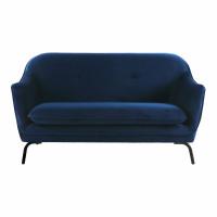 LUSSO - 2-zit - velvet - L 149,5 x W 76 x H 86 cm - blauw