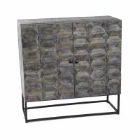 HEX - armoire 2 portes - 85x35xh85 cm - bois de mangue - brun foncé