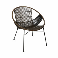 CAPPUCCINO - relax chair - rattan / metal - L 70 x W 67 x H 79 cm - dark brown
