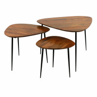 AXIO - set/3 tables d'appoint - acacia - L 40/54/74 x W 40/52/68 x H 36/41/45 cm - naturel
