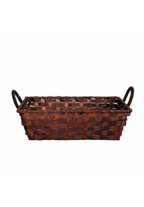 Bamboo basket brown with handles