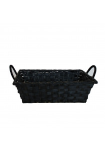 Bamboo basket black with handles