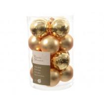 Kerstbal Glas Glans En Mat Lichtgoud 3,5cm Diameter 16 Stuks