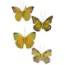 Vlinder Op Clip 9cm Geel