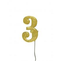Jubileumcijfer 6,5cm Goud '3'