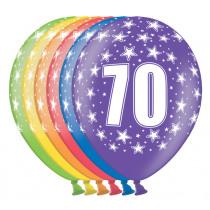 Ballon Metallic 30cm '70' 6 Stuks