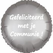 Ballon Satin Luxe Satin Rond Zilver 43cm Diameter Gefeliciteerd Met Je Communie!