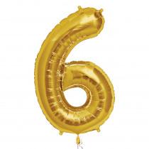 Ballon Folie 86cm Goud '6'