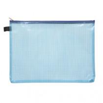 Pochette Blauw Met Rits Transparant A4