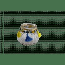 Theelichthouder 7,5cm 8,5cm Diameter Met Parels En Kwastjes