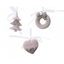 Déco De Sapin Rose Poudre Sapin/Couronne/Coeur