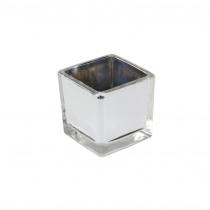 Theelichthouder Glas 5,1x5,1x5,3cm Zilver