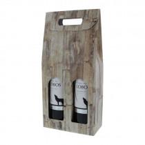 Wijnflesdoos 180x90x380Mm Beige Wood 2 Flessen