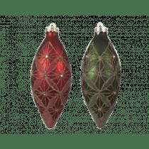 Pegel Glas 18cm-7cm Dennengroen Of Kerstrood Gouddraad 1 Stuk