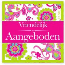 Wensetiket Vriendelijk Aangeboden Bloem NL 18 Stuks
