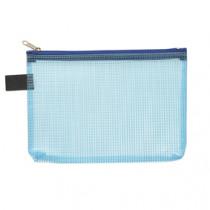 Pochette Blauw Met Rits Transparant A6
