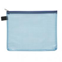 Pochette Blauw Met Rits Transparant A5