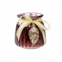 Theelichthouder Glas Met Lint En Blad 7cm Bordeaux 7cm Diameter