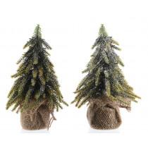 Kerstboom 20cm Groen 12cm Diameter In Jute Zak