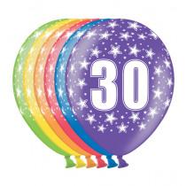 Ballon Metallic 30cm '30' 6 Stuks