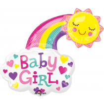 Folieballon Regenboog 76x76cm Roze Baby Girl