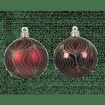 Kerstbal Glas Ossenbloed 8cm Diameter Met Glitterlijnen