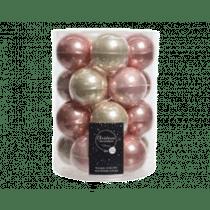 Kerstbal Glas Glans En Mat 6cm Diameter 20 Stuks Parel & Roze Mix