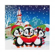 Crystal Card Kit Pinguins Kerst