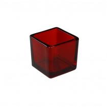 Theelichthouder 5,1x5,1x5,3cm Rood Cube