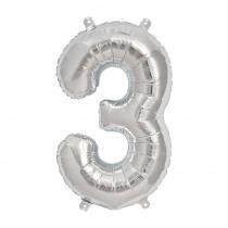 Ballon Folie 41cm Zilver '3'